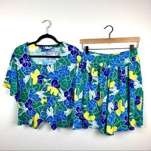 VINTAGE Leaf Botanical Pajama Set Shorts Button Do